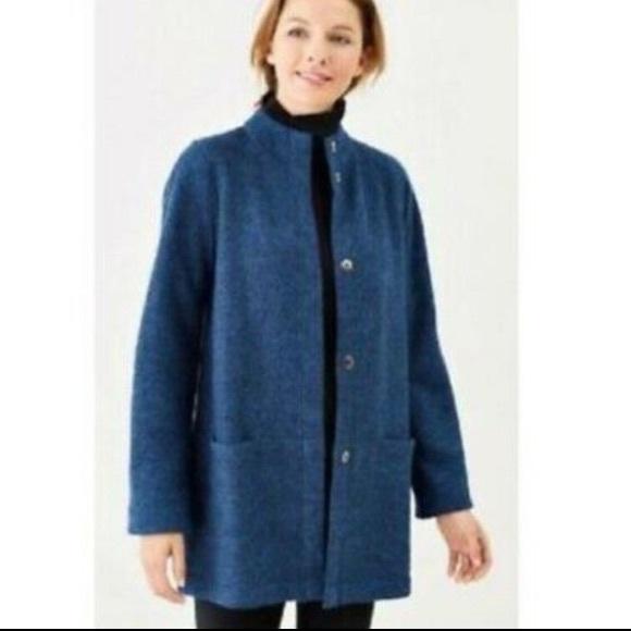 Pure Jill Sweater Jacket Wool Blend Blue Sz LP